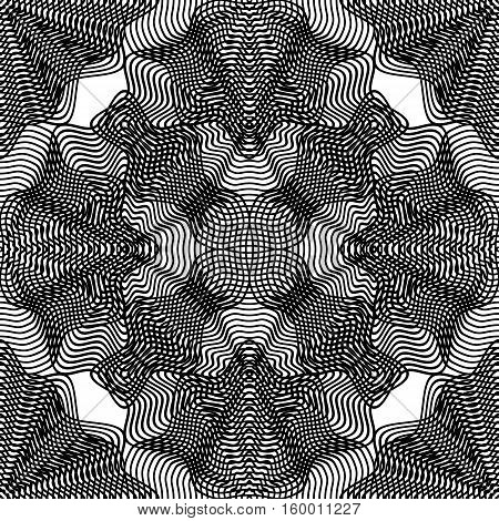 Vector pattern with black graphic lines kaleidoscope abstract background with overlay ornament. Monochrome illusive seamless backdrop can be used for graphic design.