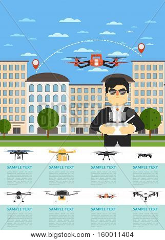 Drone aircraft website template with man operating flying robot in city vector illustration. Remotely controlled multicopter. Unmanned aerial vehicle. Piloted copter drone. Modern flying device.