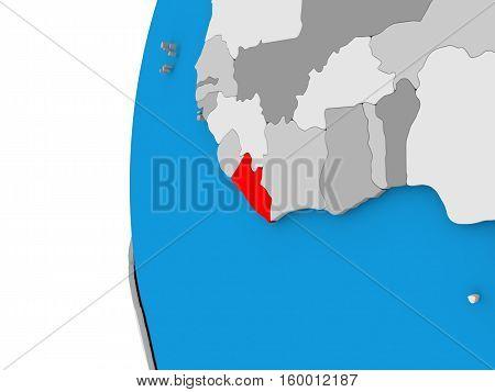 Liberia On Globe