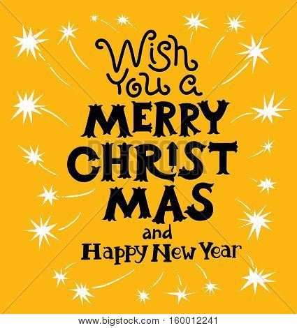Merry Christmas and New Year lettering. Hand-drawn artistic cute letters for invitation seasonal poster and card with sparklers and fireworks