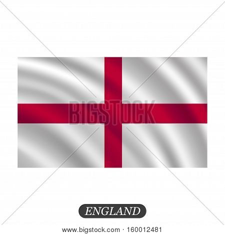 Waving England flag on a white background. Vector illustration