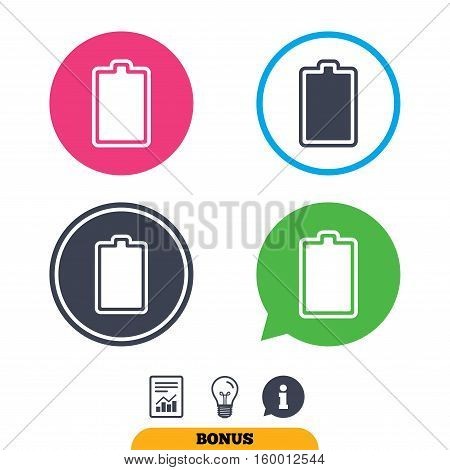Battery fully charged sign icon. Electricity symbol. Report document, information sign and light bulb icons. Vector