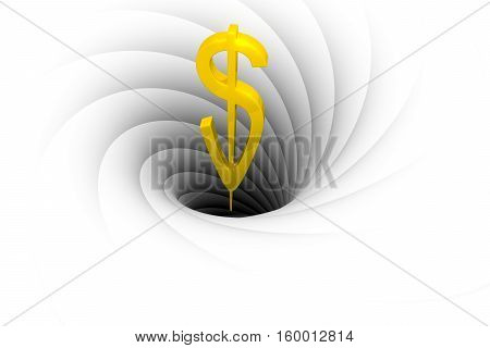 a black hole sucks in money 3d illustration