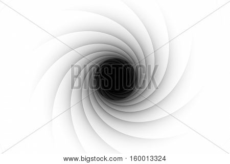black hole down white background 3d illustration