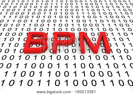 BPM in the form of binary code, 3D illustration