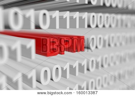 BPM as a binary code with blurred background 3D illustration