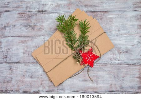 Christmas Letter To Kraft Envelope And Fir Branch