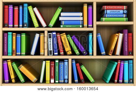 bookshelf and many books. Done in 3d illustration