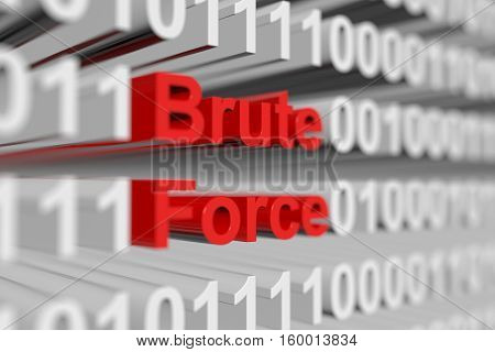 Brute Force in the form of a binary code with blurred background 3D illustration