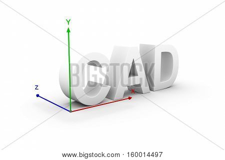 CAD in the form of text on a white background with the axis of the coordinate 3d illustration