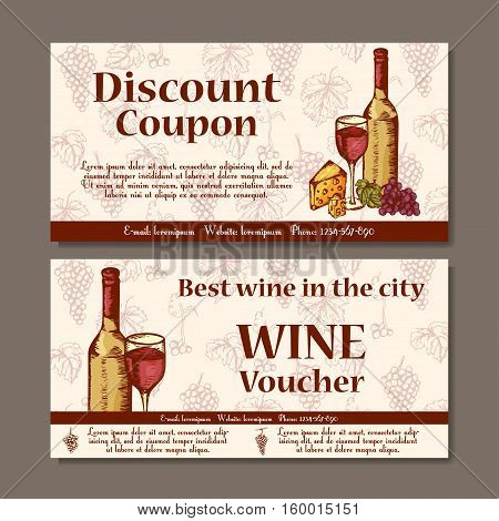 Vector coupon template for beverages. Set of wine banners with sketches. Illustration for voucher label card.