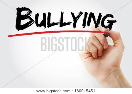 Hand Writing Bullying With Marker
