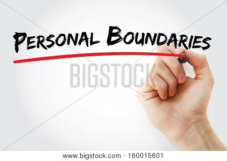 Hand Writing Personal Boundaries With Marker