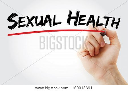 Hand writing Sexual Health with marker concept background