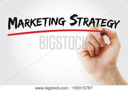 Hand Writing Marketing Strategy With Marker