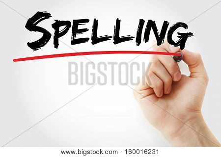 Hand Writing Spelling With Marker