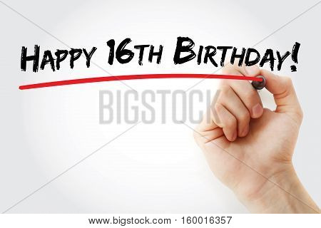 Hand Writing Happy 16Th Birthday With Marker