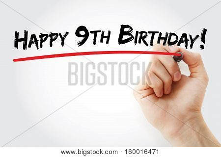 Hand Writing Happy 9Th Birthday With Marker
