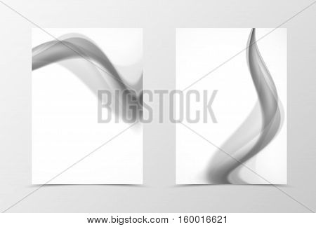 Front and back dynamic flyer template design. Abstract template with gray smoke in wavy soft style. Vector illustration