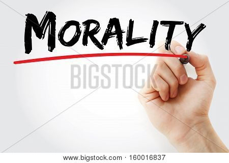 Hand writing Morality with marker concept background poster