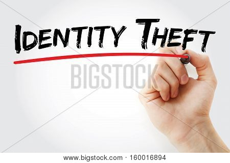Hand Writing Identity Theft With Marker