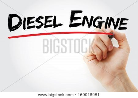 Hand Writing Diesel Engine With Marker
