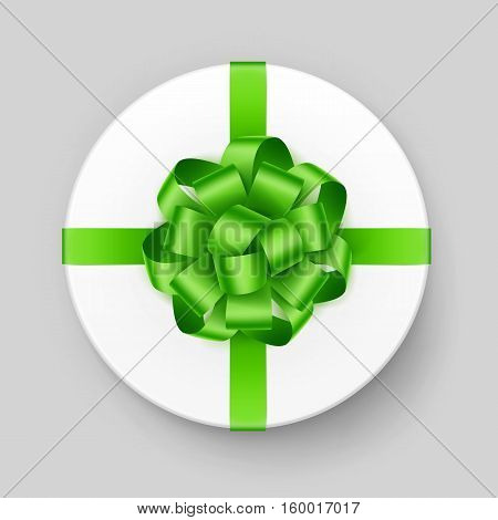Vector White Round Gift Box with Shiny Light Green Bow and Ribbon Top View Close up Isolated on Background