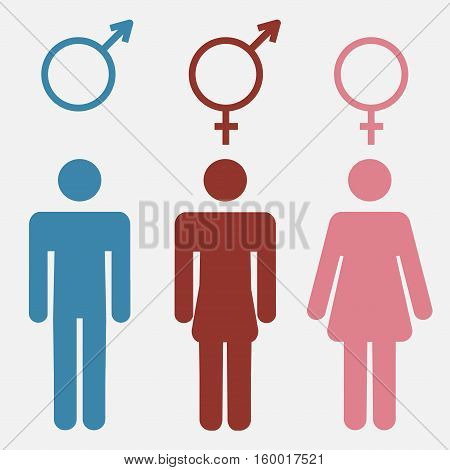 Set of gender symbols with stylized silhouettes male, female and unisex or transgender - vector