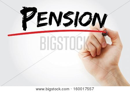 Hand Writing Pension With Marker