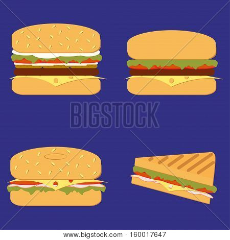 Burger grill sandwich vector set. Burger sandwich in flat style. Burger sandwich isolated from background. Sub Burger sandwich with lettuce, tomato, meat and cheese bbq. Ham and vegetable Burger icon. sandwich Burger Icon. Illustration of an appetizing ca