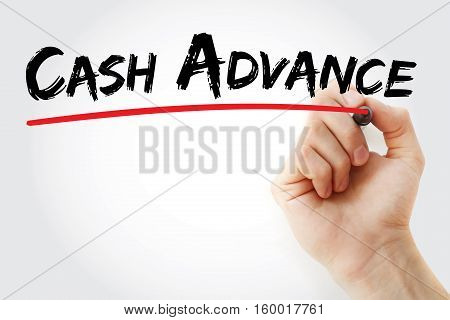 Hand Writing Cash Advance With Marker