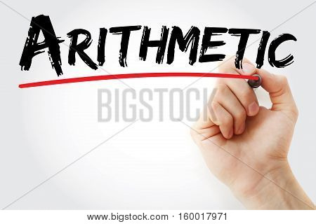 Hand Writing Arithmetic With Marker