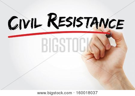 Hand Writing Civil Resistance With Marker