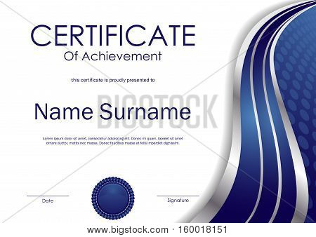 Certificate of achievement template with blue and silver wavy swirl background and seal. Vector illustration