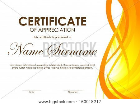 Certificate of appreciation template with orange dynamic bright wavy background. Vector illustration