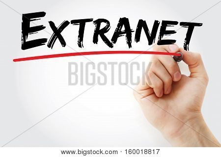 Hand writing Extranet with marker concept background