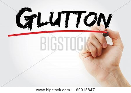 Hand Writing Glutton With Marker