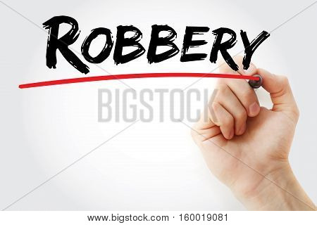 Hand Writing Robbery With Marker