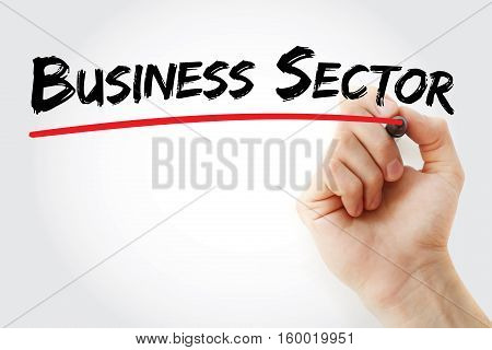 Hand Writing Business Sector With Marker