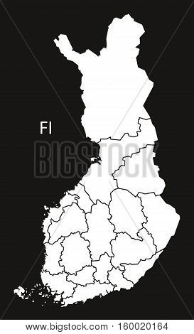 Finland regions Map black white country silhouette illustration