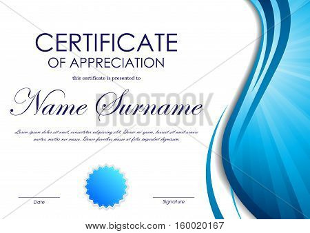 Certificate of appreciation template with blue dynamic wavy vortex light background and seal. Vector illustration
