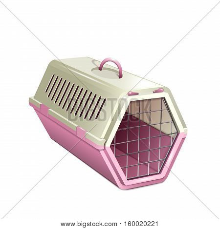 Cat carrier. Pink and beige cat cage. Isolated empty pet kennel. Vector EPS10 realistic illustration of pet supply.