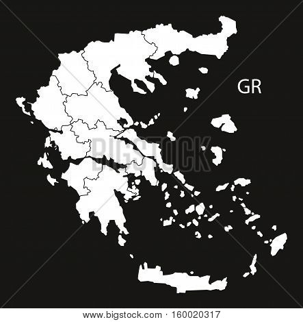 Greece regions Map black white country silhouette illustration