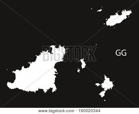 Guernsey Map black white country silhouette illustration