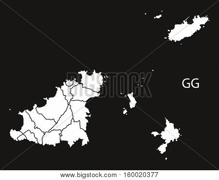 Guernsey parishes Map black white country silhouette illustration