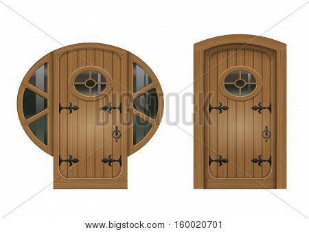 Ancient arched doorway from the old board to the oval window. Vector graphics