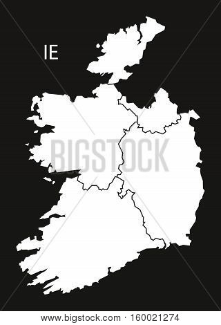 Ireland provinces Map black white country silhouette illustration