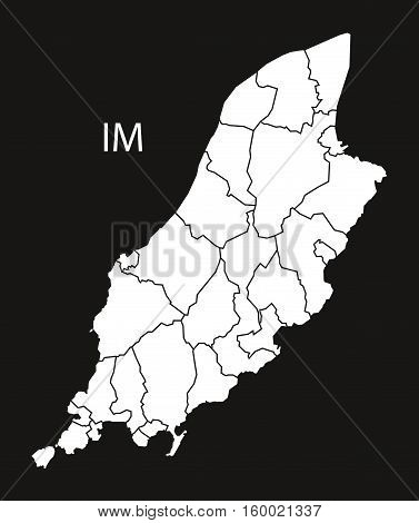 Isle of Man regions Map black white country silhouette illustration