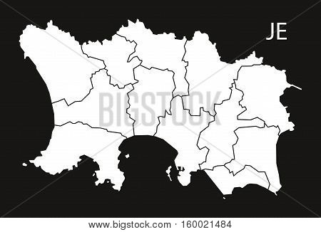 Jersey with parishes Map black white country silhouette illustration