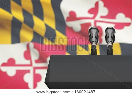 Pulpit And Two Microphones With Usa State Flag On Background - Maryland